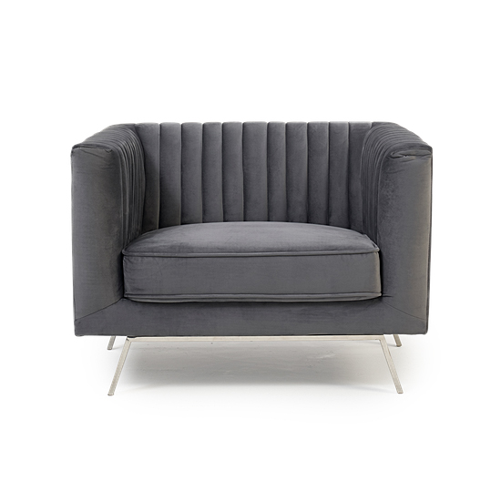 Daonille Velvet Armchair In Grey With Chrome Metal Legs_2