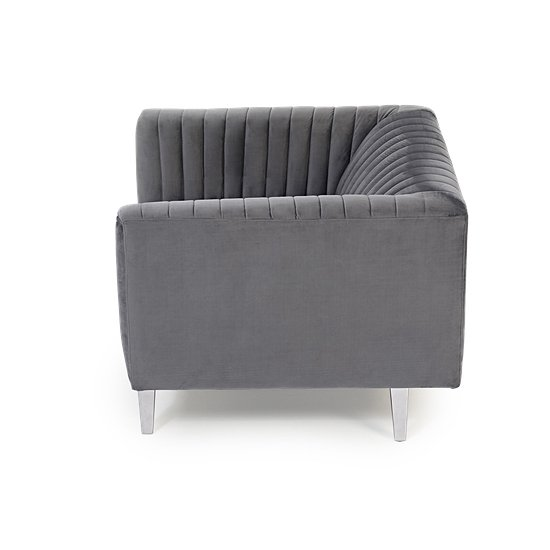 Daonille Velvet Armchair In Grey With Chrome Metal Legs_4