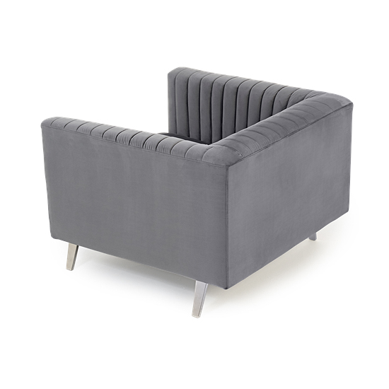 Daonille Velvet Armchair In Grey With Chrome Metal Legs_5