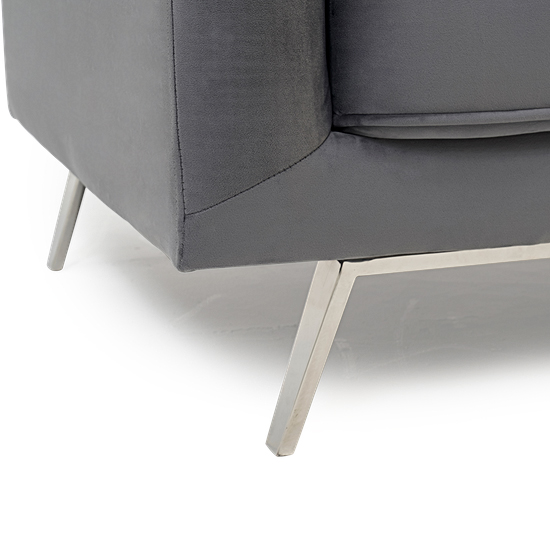 Daonille Velvet Armchair In Grey With Chrome Metal Legs_6