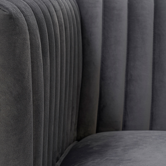 Daonille Velvet Armchair In Grey With Chrome Metal Legs_7