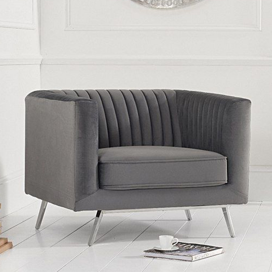 Daonille Velvet Armchair In Grey With Chrome Metal Legs_1