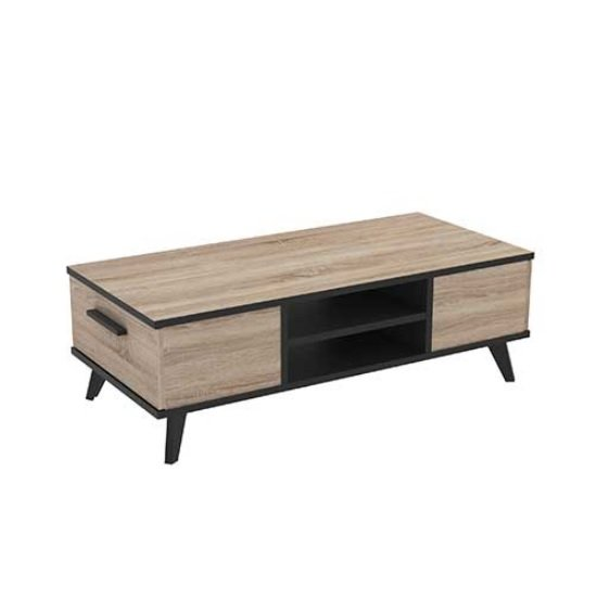 Daphne Wooden Coffee Table In Brushed Oak And Matt Black