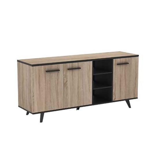 Daphne Wooden Sideboard In Brushed Oak And Matt Black