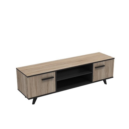 Daphne Wooden TV Stand In Brushed Oak And Matt Black With 2 Door