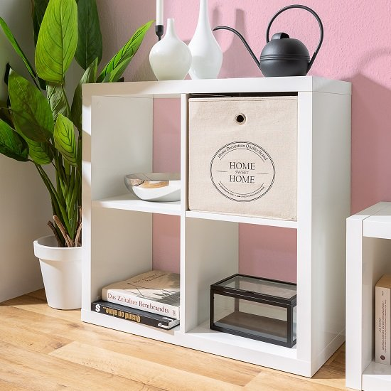 Darby Modern Shelving Unit Square In White High Gloss