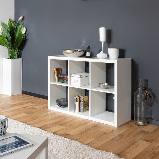 Darby Shelving Unit In White High Gloss With 6 Compartments_1