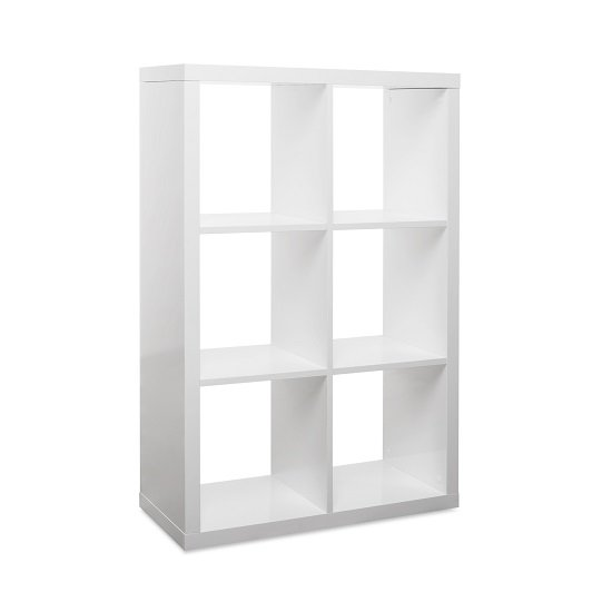Darby Shelving Unit In White High Gloss With 6 Compartments_2