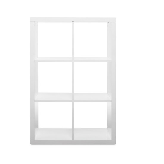 Darby Shelving Unit In White High Gloss With 6 Compartments_3