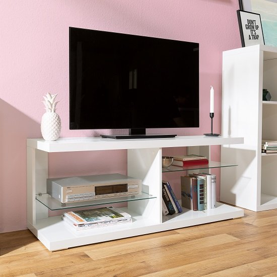 Darby Modern TV Stand In White High Gloss With Glass Shelves