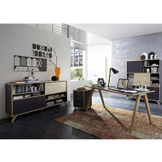 Darcey Wooden Laptop Desk In Anthracite And Sonoma Oak_2