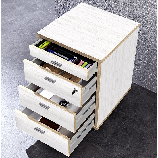 Darcey Wooden Office Cabinet In White And Oak With 4 Drawers_2