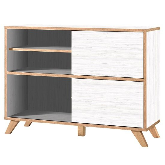 Darcey Shelving Unit In White And Oak With 2 Sliding Doors_1