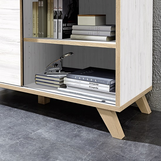 Darcey Shelving Unit In White And Oak With 2 Sliding Doors_2