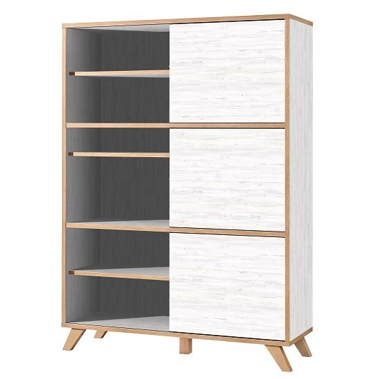 Darcey Tall Shelving Unit In White And Oak With 3 Sliding Doors