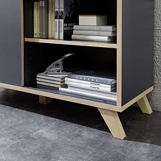 Darcey Wooden Shelving Unit Wide In Anthracite And Sonoma Oak_6