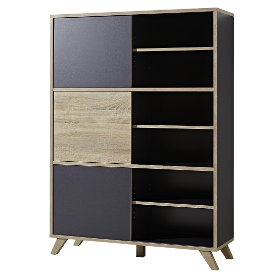 Darcey Wooden Shelving Unit Tall In Anthracite And Sonoma Oak
