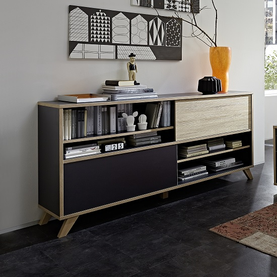 Darcey Wooden Shelving Unit Wide In Anthracite And Sonoma Oak_1