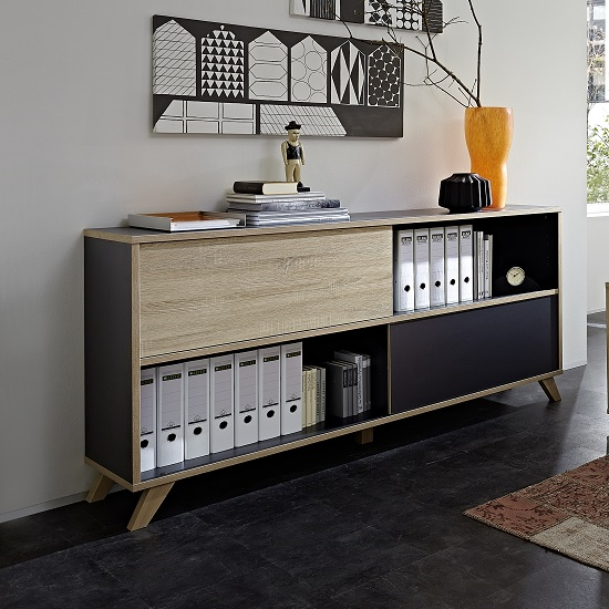 Darcey Wooden Shelving Unit Wide In Anthracite And Sonoma Oak_2