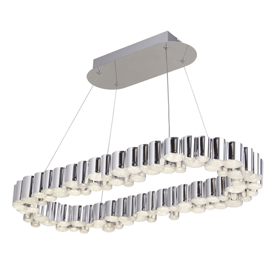 Darcy LED Oval Pendant Ceiling Light In Chrome With Crystal Sand
