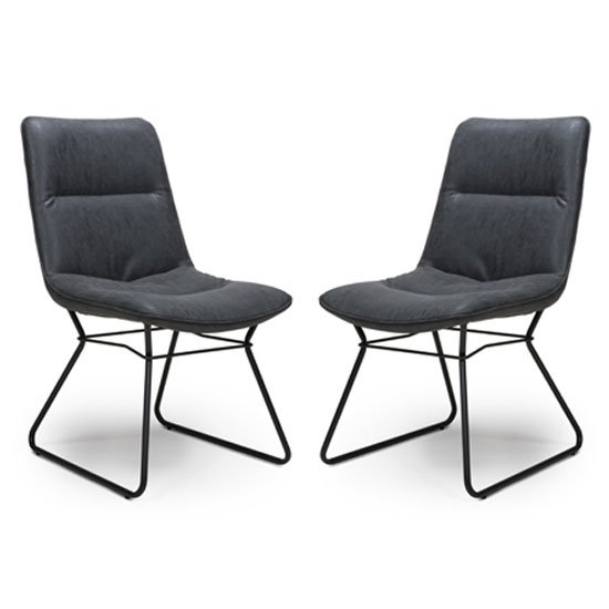 Darcy Wax Grey Faux Leather Dining Chair In A Pair