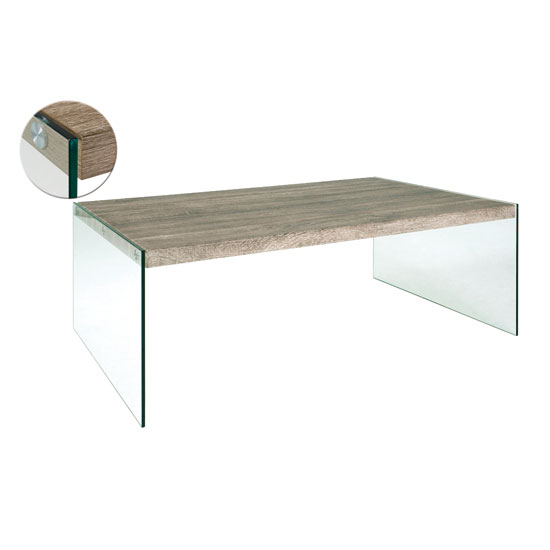 Olymp Dark Oak Rectangle Coffee Table With Bent Glass Legs