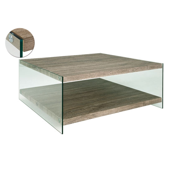 Olymp Dark Oak Coffee Table With Side Glass Panels