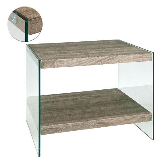 Olymp Dark Oak Side Table With Undershelf And Glass Legs