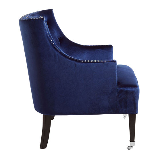 Darligo Velvet Upholstered Armchair In Blue_3