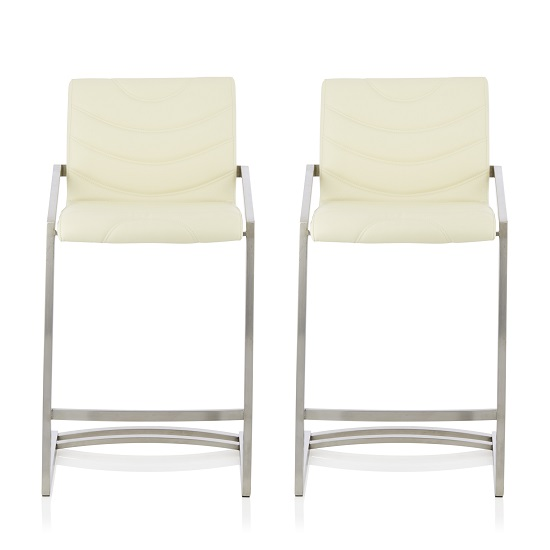 Darren Bar Stool In Cream Faux Leather In A Pair