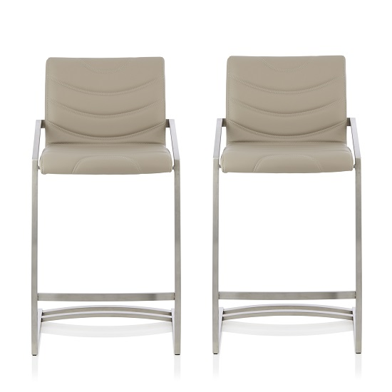 Darren Bar Stool In Taupe Faux Leather In A Pair