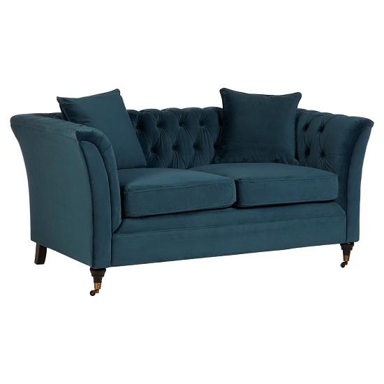 Image of Dartford Modern 2 Seater Sofa In Midnight Blue