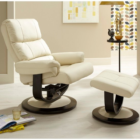 Darwin Recliner Chair In Cream Faux Leather With Footstool