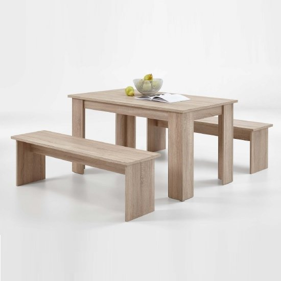 Darwin Dining Table In Canadian Oak With 2 Dining Benches