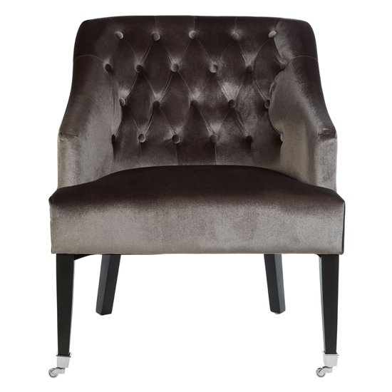 Darwo Velvet Upholstered Accent Chair In Grey