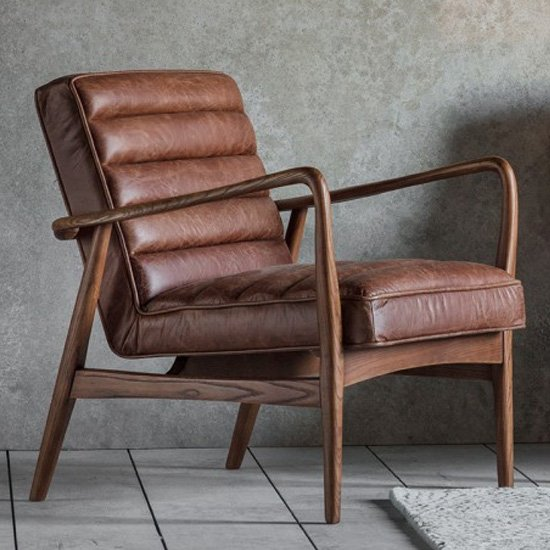 Datsun Faux Leather Armchair In Vintage Brown_1