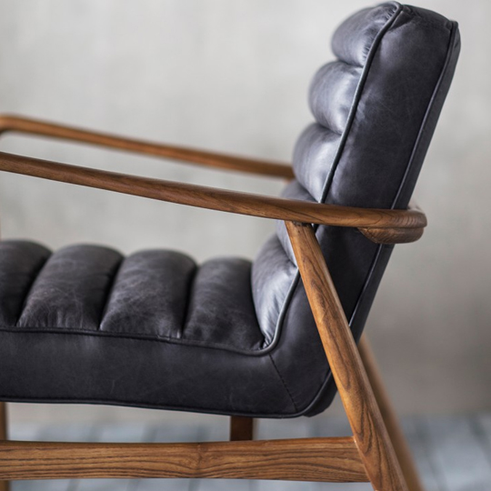 Datsun Leather Bedroom Armchair In Antique Ebony_2