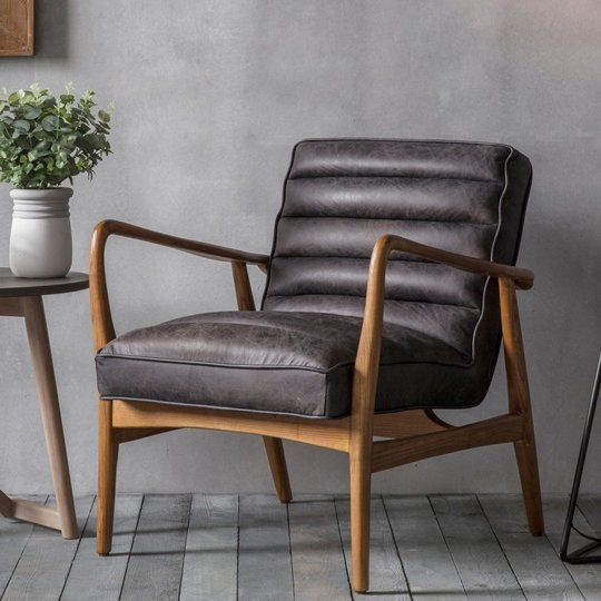 Datsun Leather Bedroom Armchair In Antique Ebony
