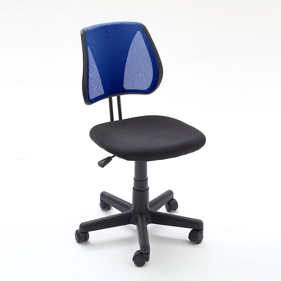 Regent Home Office Chair In Blue And Black Mesh With Castors