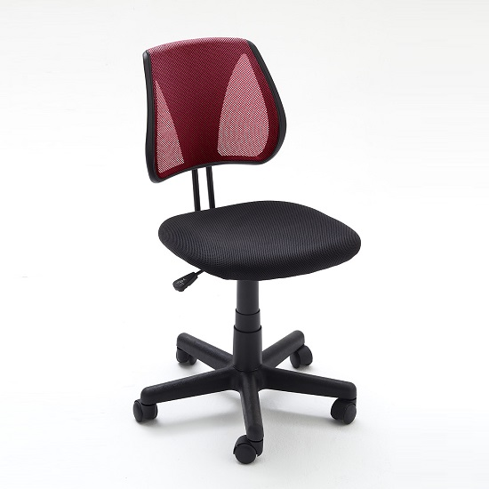 Regent Home Office Chair In Red And Black Mesh With Castors
