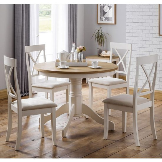 Davenport Round Dining Set In Oak And Ivory With 4 Chairs