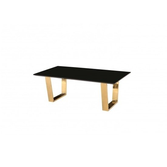 View Daviel coffee table in black high gloss with polished gold legs
