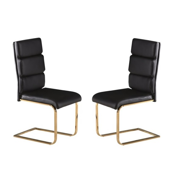 Daviel Dining Chairs In Black Faux Leather In A Pair