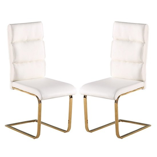 Daviel Dining Chairs In White Faux Leather In A Pair