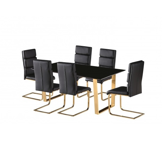 Daviel Dining Table In Black Gloss With Six Black Dining Chairs