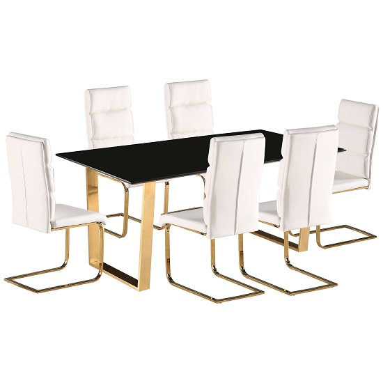Daviel Dining Table In Black Gloss With Six White Dining Chairs