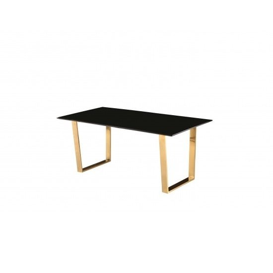 Daviel Dining Table In Black High Gloss With Polished Gold Legs