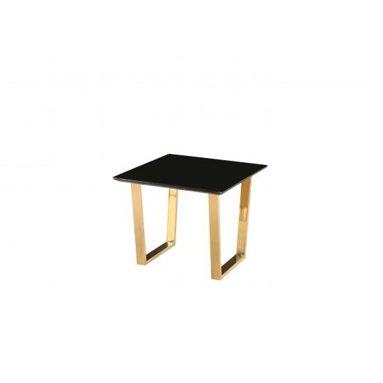 Daviel Lamp Table In Black High Gloss With Polished Gold Legs