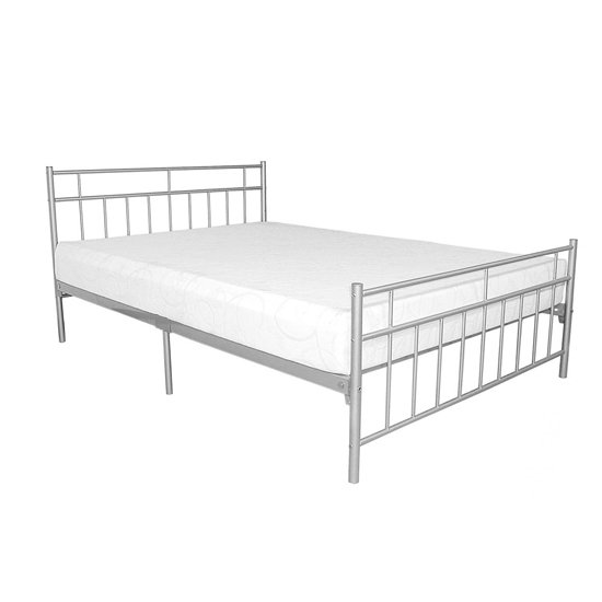 Davina Metal Double Bed In Silver