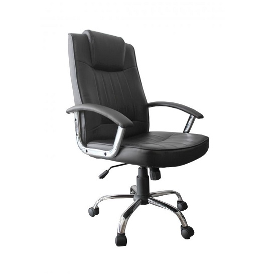 Davina Home Office Chair In Black PU With Castors